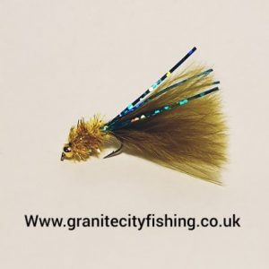 Gold head Olive sparkle micro Fritz fly